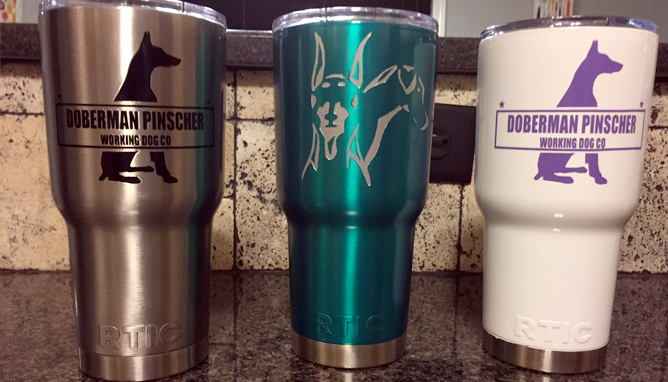 Custom Doberman RTIC stainless steel cups