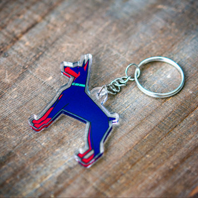 Cartoon doberman key chain